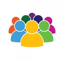 people icon in various color set illustration