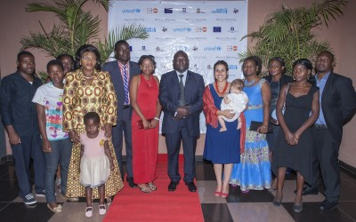 "Guest of Honour Deputy Minister of Education Vincent Nghambi (centre) poses with film director May Taherzadeh, Beatrice Mwale, MP for Kasungu North (4th left) and cast at film premier of ""Mercy's Blessing""."